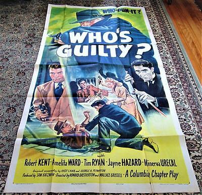 1945 WHO'S GUILTY? Original 3-Sheet  Movie Poster 40x80
