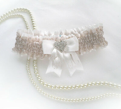 Boxed IVORY CHAMPAGNE NUDE LACE BRIDAL PERSONALIZED GARTER VINTAGE STYLE