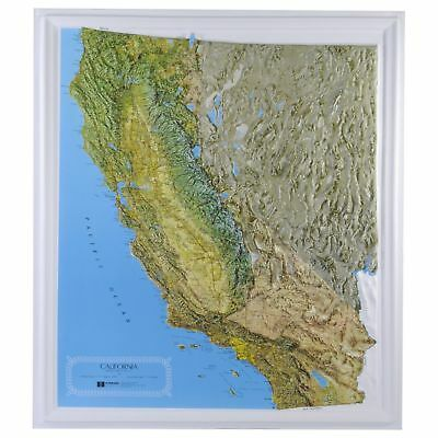 California State Raised Relief Map - Natural Color Relief Style