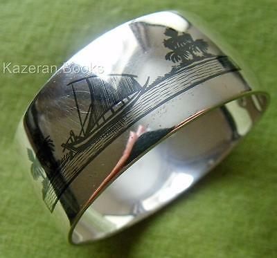 Antique Niello & Solid Silver Middle East Iraq Pictorial Oval Napkin Ring Signed