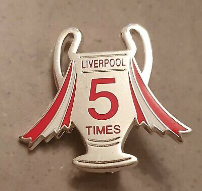 Liverpool Pin Badge - Champions League Cup - 5 Times - Silver and Red
