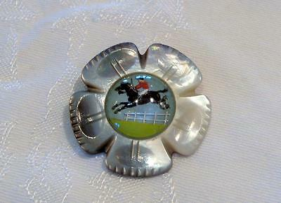 Vintage Equestrian Horse Jumping Mother of Pearl Flower Pin Brooch Abalone