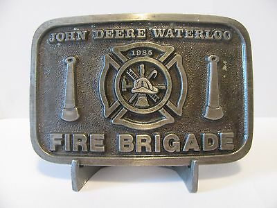 *John Deere Waterloo Employee FIRE BRIGADE Logo & Hose Pewter Belt Buckle 1985