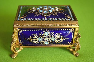 Fine Antique French Bressan Jeweled Enamel On Copper Tahan Gold Bronze Box