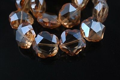 2pcs 20mm Big Flower Faceted Crystal Glass Charms Loose Beads Lots Amber Gold
