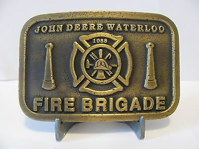 *John Deere Waterloo FIRE BRIGADE Belt Buckle 1988  Ltd Ed 1 of 50 EMPLOYEE ONLY