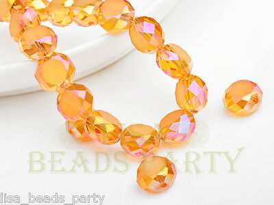 10pcs 12mm Drum Faceted Charms Crystal Glass Bead Loose Spacer Beads Gold Rose