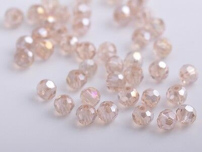 100pcs 4mm Round Faceted Crystal Glass Loose Spacer Beads Silver Champagne AB