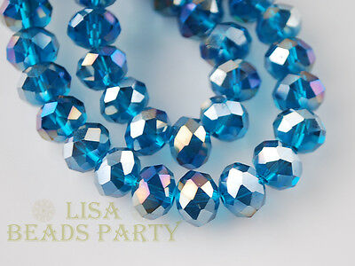 50pcs 8X6mm Rondelle Faceted Crystal Glass  Spacer Beads Peacocok Blue AB Crafts