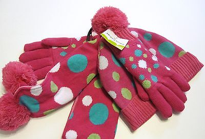 New Jumping Beans Hat Scarf Mitten Set Size 4 5 6 6X S Cable Knit Pink
