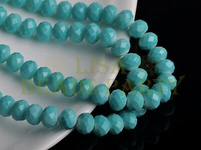 50pcs 8X6mm Faceted Rondelle Loose Crystal Glass Paint Beads Charms Lt Lake Blue