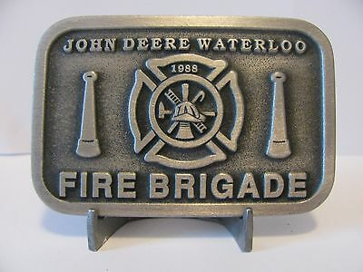 * John Deere Waterloo FIRE BRIGADE EMPLOYEE Pewter Belt Buckle 1988 Ltd Ed 1/50