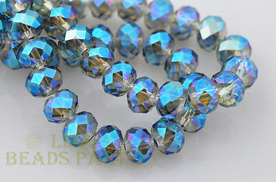50pcs 8X6mm Rondelle Faceted Crystal Glass Loose Spacer Beads Green Colorized