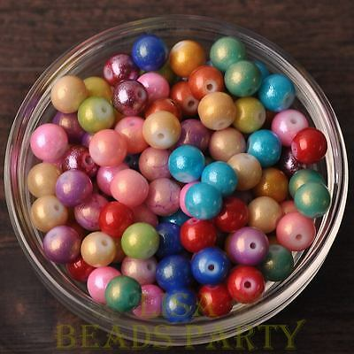 Hot 50pcs 6mm Round Gold Dust Glass Charms Loose Spacer Beads Random Mixed