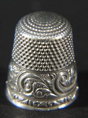 Fancy Vtg Scroll Design Sterling Silver Size 8 Sewing THIMBLE Anchor Mark Mono