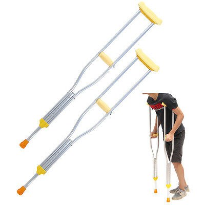 Pair of Underarm lightweight aluminium Adjustable Adult Axillary Crutches Elbow