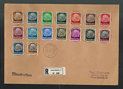 1941 Luxembourg Occupation Cover Registered to Hamburg Germany Comp Set # N1-N16