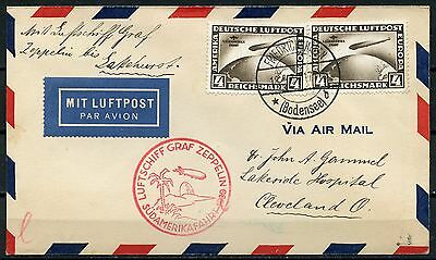 GERMANY ZEPPELIN FLGHT COVER FRANKED WITH 2 SOUTH AMERICA FLIGHT 4 dm STAMPS