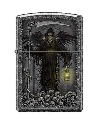 Zippo 1370 Grim Reaper Skulls Iron Stone Finish Lighter