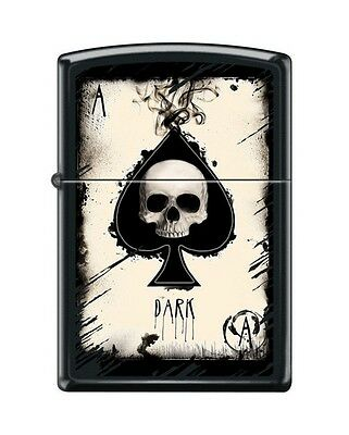 Zippo 3674 Ace of Spades Death/Skull Black Matte Finish Lighter