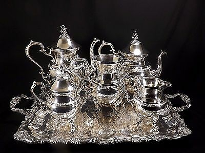 Gorgeous Windsor Plaque Chili Silver Tea Set Sheffield Plate 7 Pieces w/Tray!