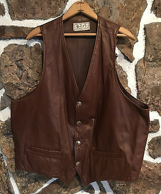 Vintage 70's Jerry's Leather Goods Western Saloon Biker Vest Buffalo Nickel