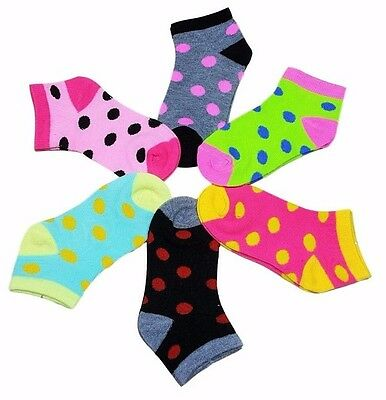 12 Pairs Girls Kids Toddler Polka Dot Assorted Colors Ankle Socks Size 4-6