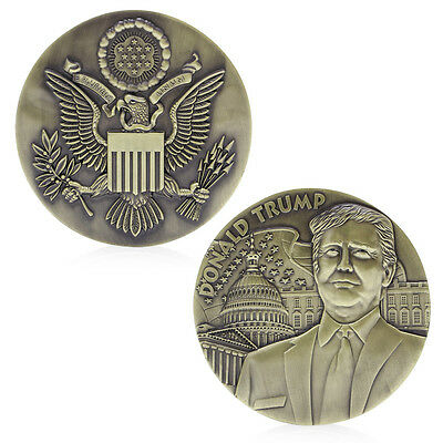 80mm American President Donald Trump Bronze Plated Commemorative Coins Novelty