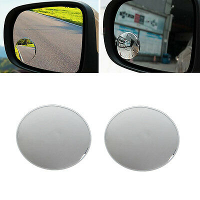 1Pair 360° Frameless Wide Angle Round Convex Blind Spot Rearview Mirror