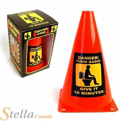 Caution Cone Toxic Gases Give It 10 Minutes Toilet Bathroom Joke Prank