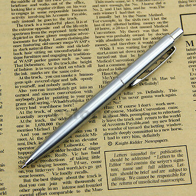 New Chic Stainless Steel Metal Ballpoint Pen Silver Trim BAOER37 New