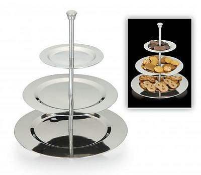Stainless Steel 3 Tier Birthday Cake Cupcake Display Stand Serving Biscuit Plate