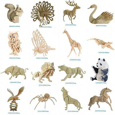 Various Animals 3D Wooden Model Jigsaw Puzzles Woodcraft Hobby DIY Multi Choice