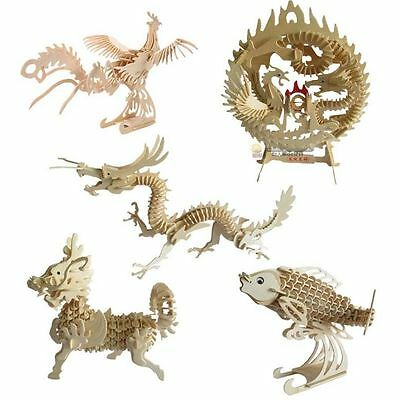 China Auspicious Animal Dragon Phoenix Unicorn 3D Wooden Model Puzzle Jigsaw DIY