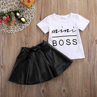 Kids Girls Summer Clothes Set T Shirt Top + Pu Leather Skirt Dress Party Outfits