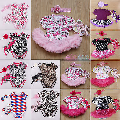 Baby Girls Tutu Dress + Headband + Shoes Jumpsuit Romper Newborn Outfits Clothes