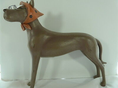"Mama Duke Retro Great Dane 14"" Rustic Country Folk Dog Statue Sculpture Decor"