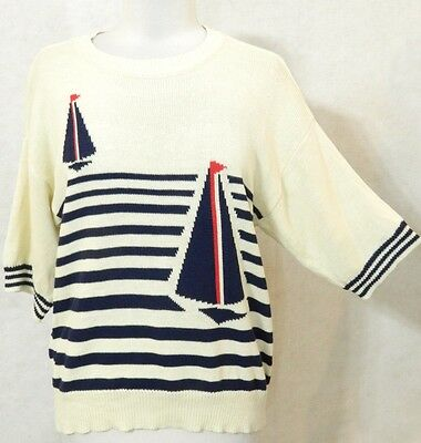 Vintage 70's IVORY Off-White Red Nautical SAILBOAT Blue STRIPED Sweater L