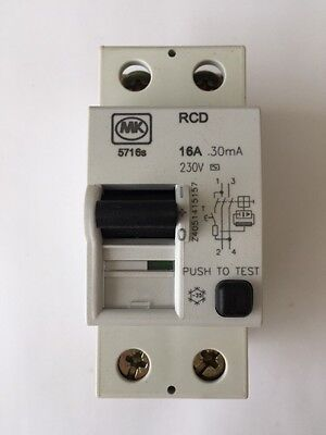 MK 5716s RCD Double Pole Two Module 17A 30mA Trip 230 V Sentry F0514