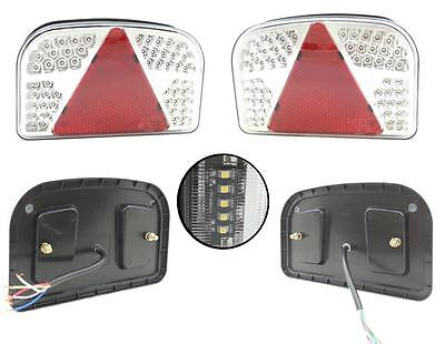 Pair 12V Led Rear Tail Lights Lamp 7 Function Trailer Caravan Truck Lorry 84 Led