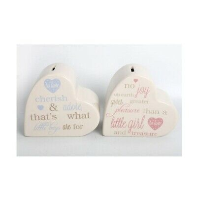 Baby Heart Shaped Money Box Pink Girl Or Blue Boy Christening Newborn Gift