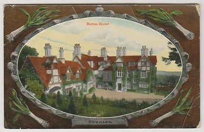 Wales postcard - Ratton House, Swansea - RP - Embossed