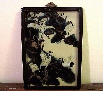 Vintage Chinese Reverse Painting On Glass Of Cranes