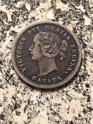 1858 Canada 5 Cent Silver Lot#3497 Mid Grade Circulated