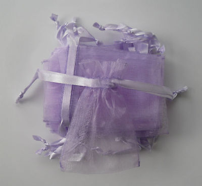 10 small lilac organza gift pouches/bags with drawstring