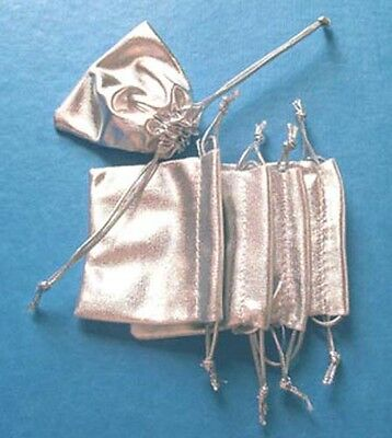 10 small silver fabric gift pouches/bags with drawstring