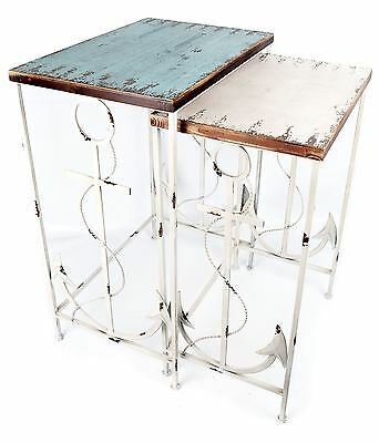 Distressed Set Of 2 Nesting Tables With Traditional Fishermans Anchor Detail