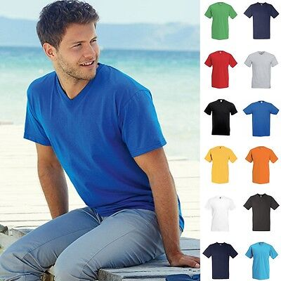 10 x Herren Mann V-Neck V-Ausschnitt Valueweight Value T-Shirt Fruit of the loom