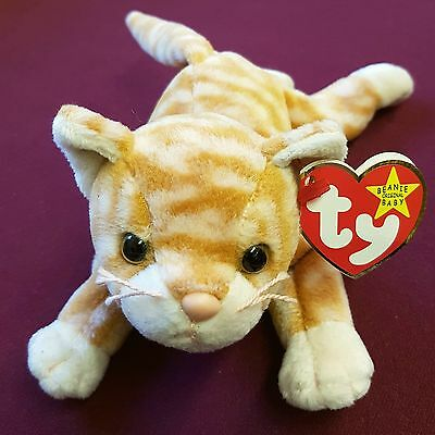 Retired TY Beanie Babies - Ginger Tabby Cat 'Amber' Collectible Plush Toy w/ Tag