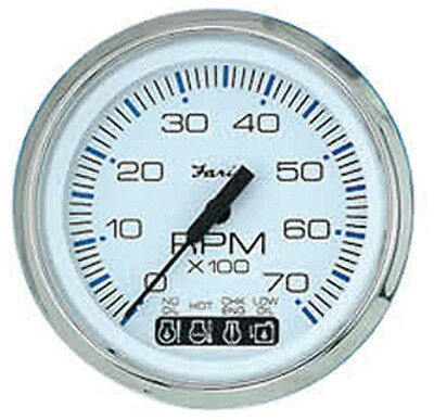 "CHESAPEAKE SERIES GAUGES, WHITE/SS-4"" Tachometer, 7K w/ System Check"
